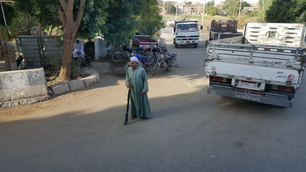…one man check point in a village